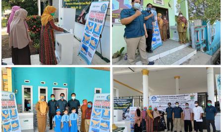 Department of Mechanical Engineering, Hasanuddin University, gave portable hand washing machine to Islamic Boarding School, kindergarden dan Public health center